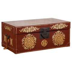 Vintage Chinese Red Blanket Chest with Gold Details and Calligraphy Motifs