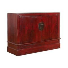 Vintage Chinese Red Lacquer Side Cabinet with Hand-Painted Floral Décor