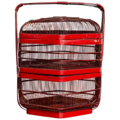 Vintage Chinese Red Lacquered Bird Cage with Handle and Hexagonal Base