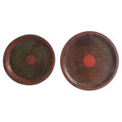 Vintage Chinese Red Wood Trays Set