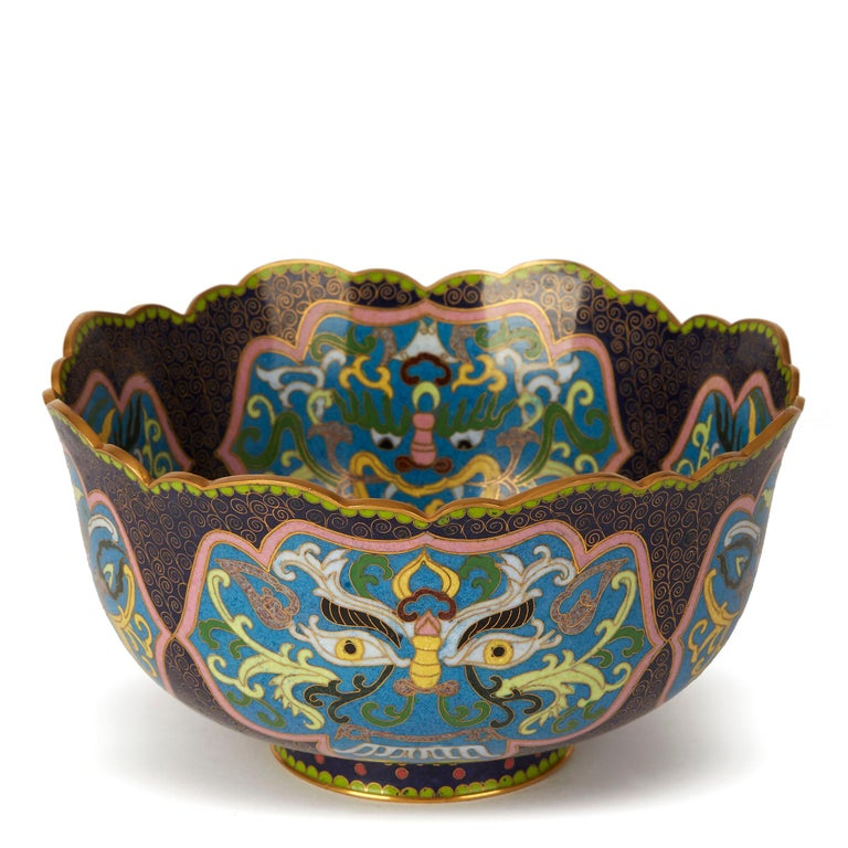 Enamel Vintage Chinese Republic Period Cloisonné Bowl, Early 20th Century For Sale