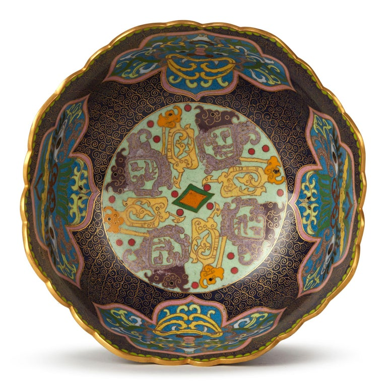 Vintage Chinese Republic Period Cloisonné Bowl, Early 20th Century For Sale 2
