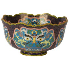 Vintage Chinese Republic Period Cloisonné Bowl, Early 20th Century