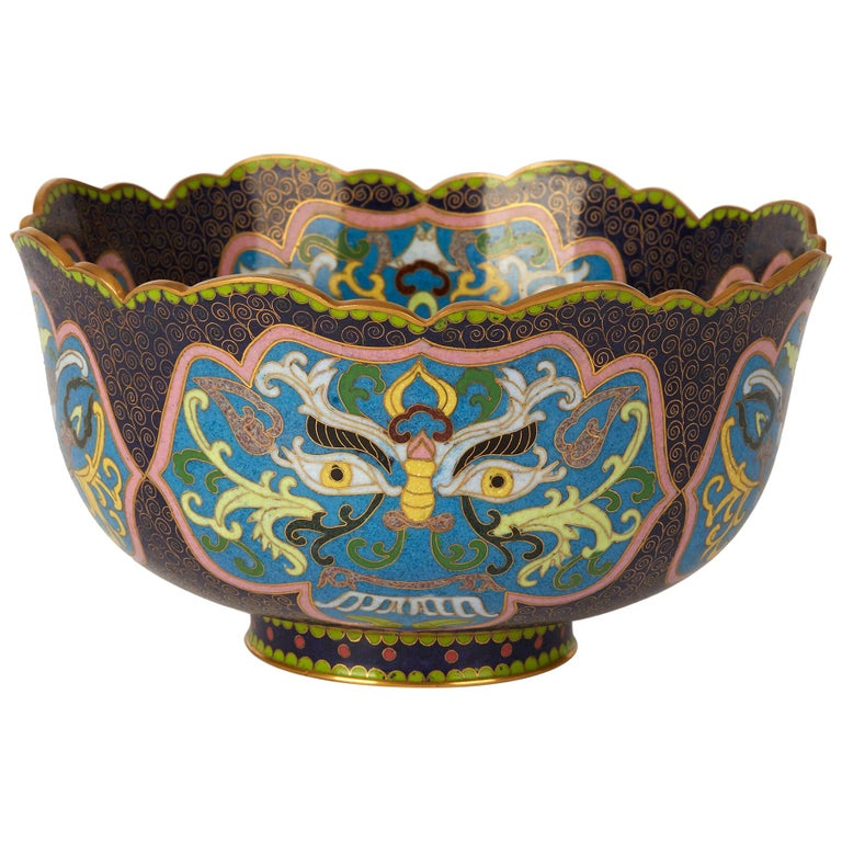 Vintage Chinese Republic Period Cloisonné Bowl, Early 20th Century For Sale