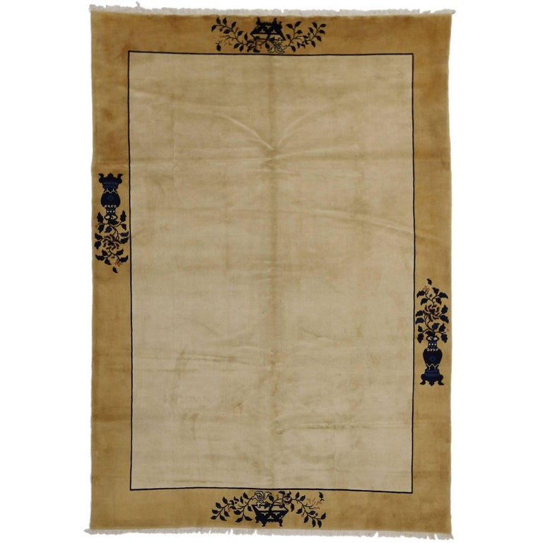 Minimalist Colorful Rug Designs: Vintage Chinese Rug With Minimalist Design, Peace And