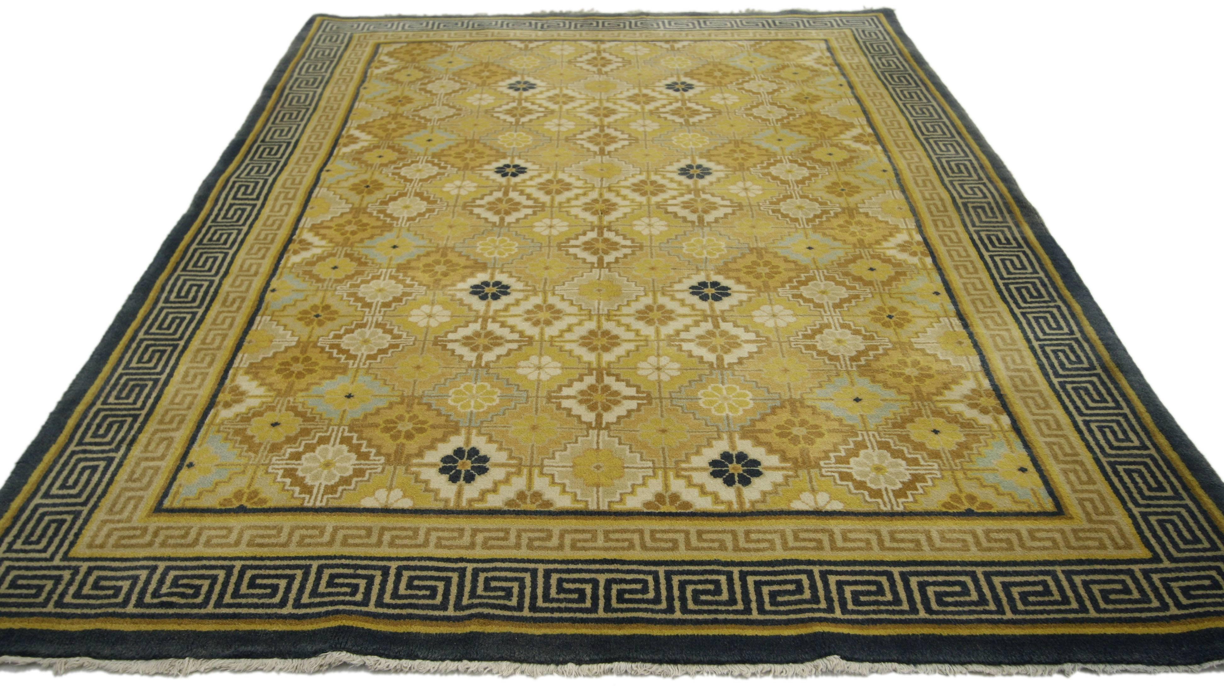 Picture of: Vintage Chinese Rug With Modern Style With Double Greek Key Border For Sale At 1stdibs
