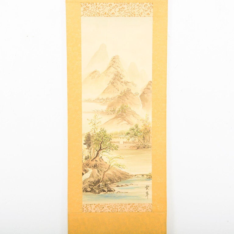 For your pleasure: a lovely vintage Chinese silk mountain landscape scene scroll wall art hanging decoration. Hand painted on silk. Signed lower right corner. Dimensions: 10 1/2
