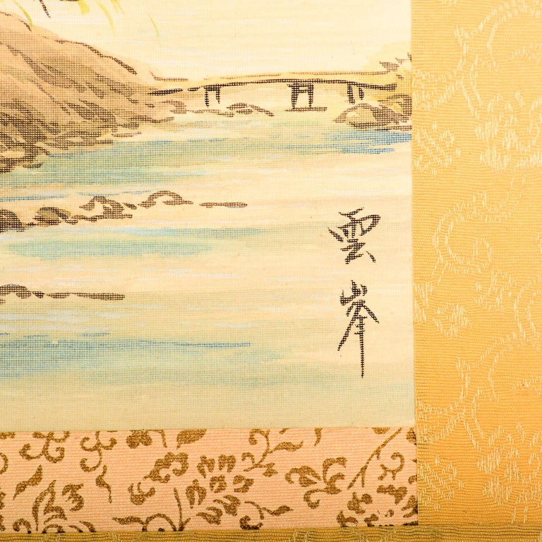 Chinese Export Vintage Chinese Silk Landscape Scroll Wall Art Hanging Decor 2 For Sale