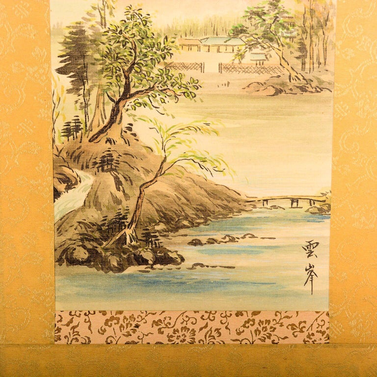 Vintage Chinese Silk Landscape Scroll Wall Art Hanging Decor 2 In Good Condition For Sale In National City, CA