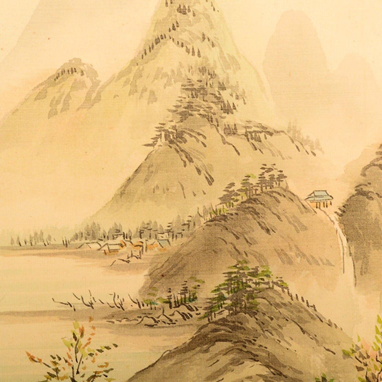 Mid-20th Century Vintage Chinese Silk Landscape Scroll Wall Art Hanging Decor 2 For Sale