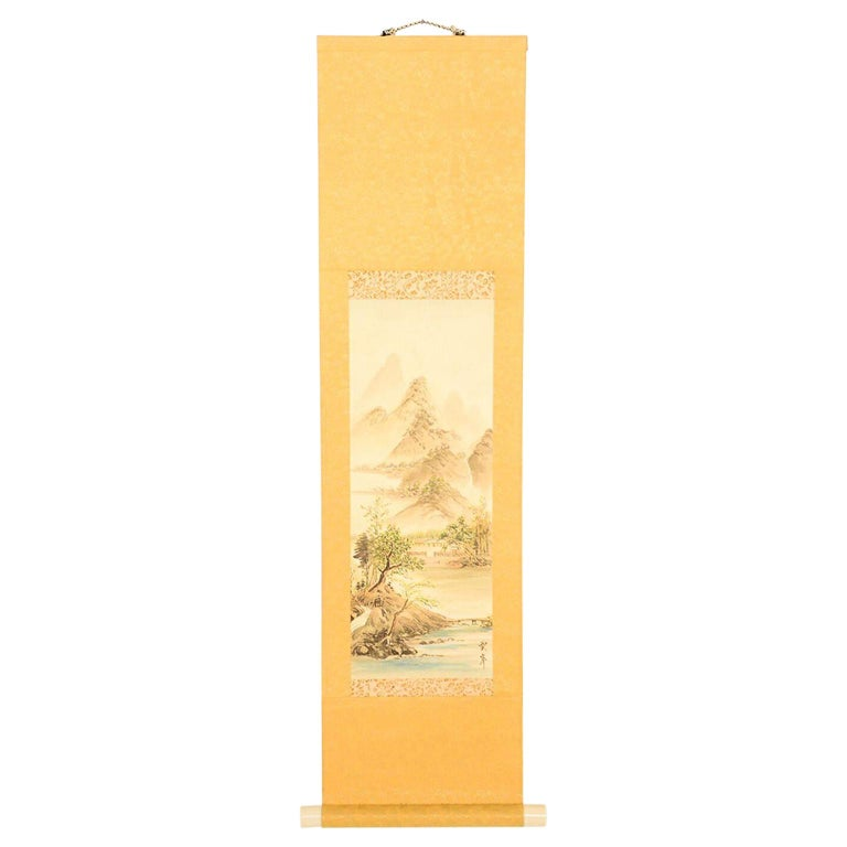 Vintage Chinese Silk Landscape Scroll Wall Art Hanging Decor 2 For Sale