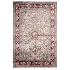 Vintage Chinese Silk Rug, Floral Carpet Herekeh Style Living Room Rug