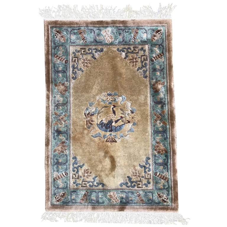 Vintage Chinese Silk Rug For Sale At 1stdibs