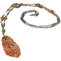 Chinese Silver Filigree and Carved Coral Pendant Necklace with a Squirrel