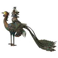 Vintage Chinese Solid Silver and Enameled Peacock on Wood
