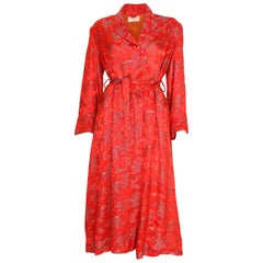 Vintage  Chinese Style Red Silk Dressing Gown