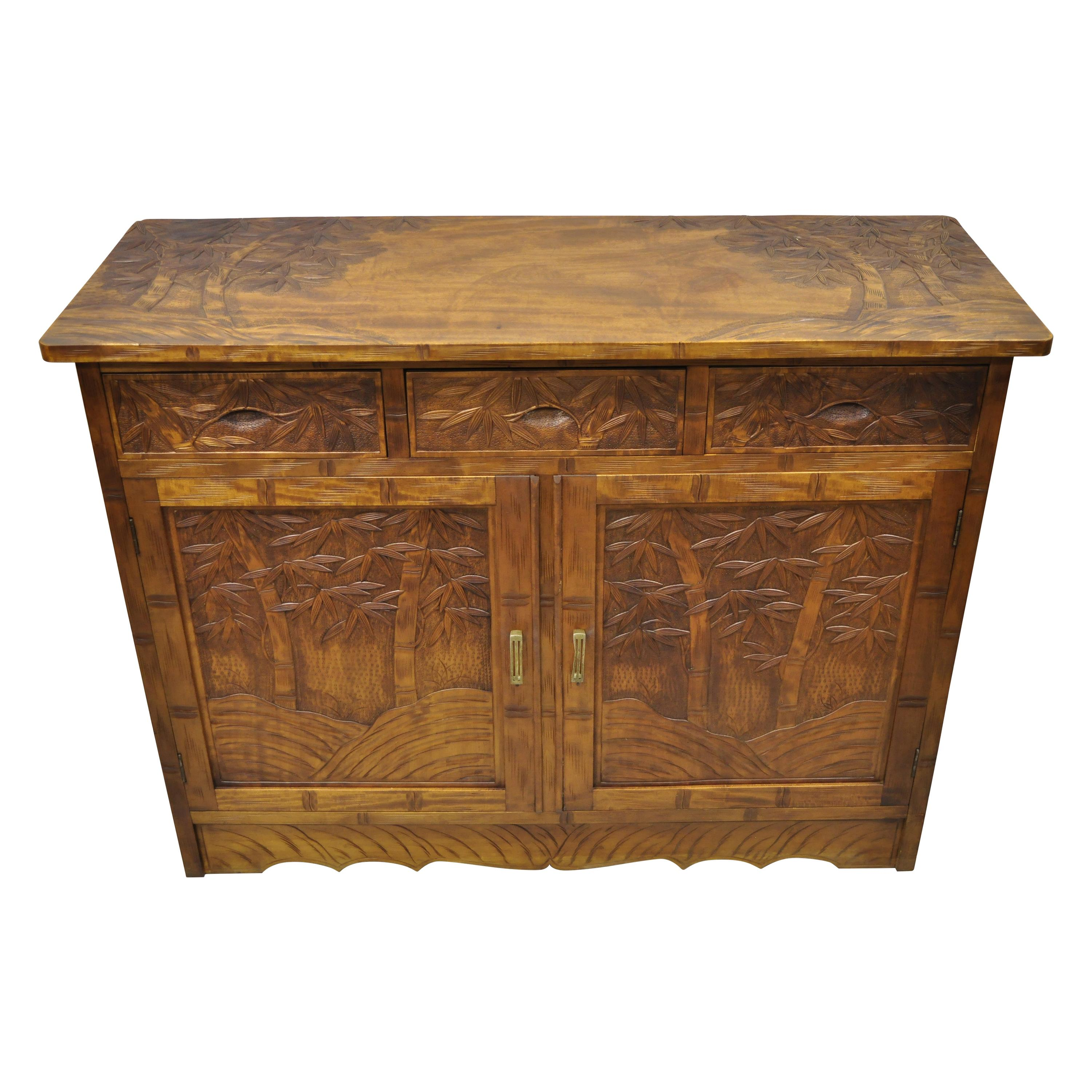 Vintage Chinese Teak Wood Carved Bamboo Tree Sideboard Buffet Cabinet