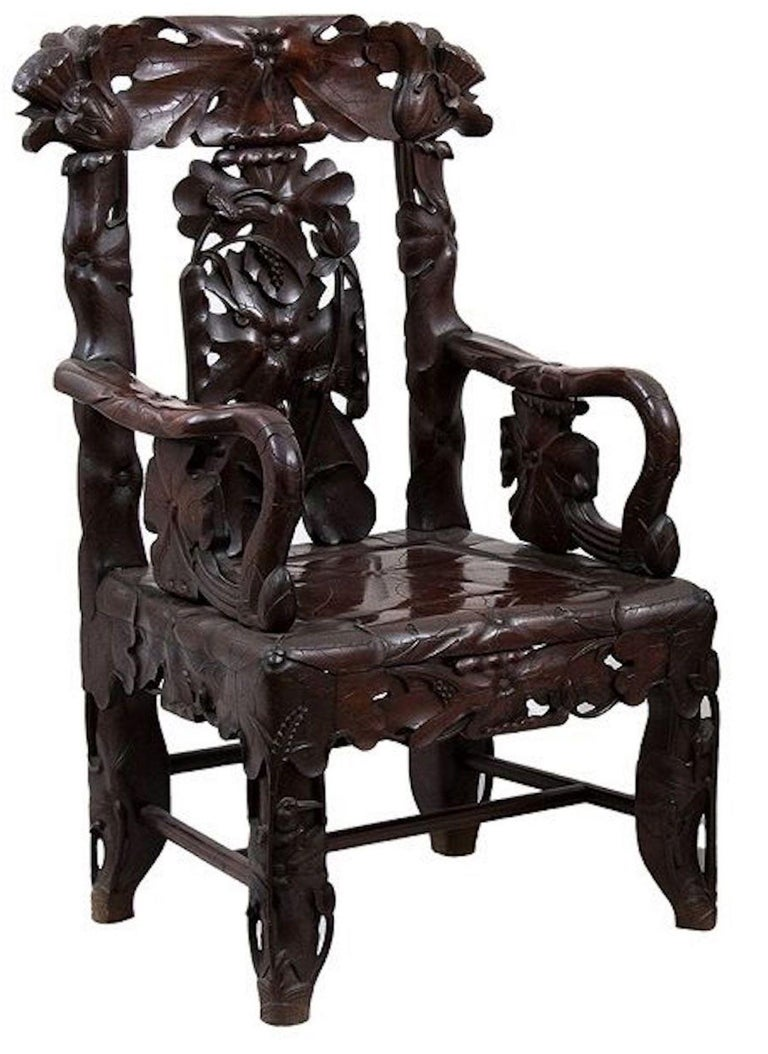 Vintage Chinese Traditional Armchairs, Early 20th Century ...