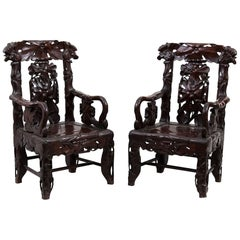 Vintage Chinese Traditional Armchairs, Early 20th Century
