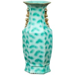 Vintage Chinese Turquoise Vase with Spotted Design and Hexagonal Neck