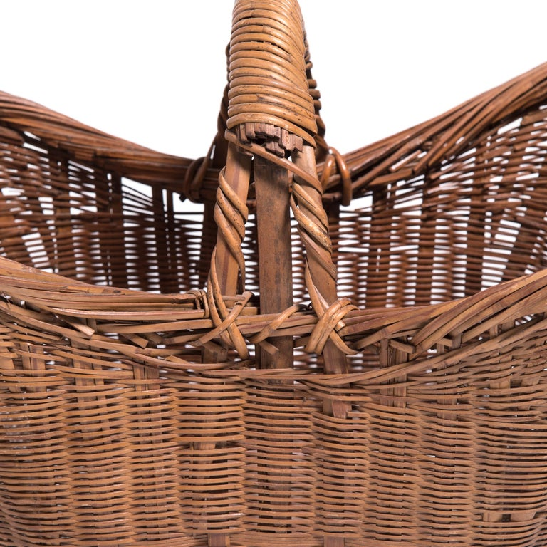 20th Century Vintage Chinese Twist Woven Market Basket For Sale