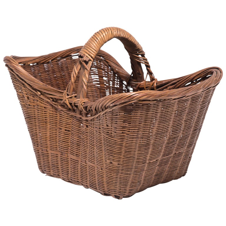 Vintage Chinese Twist Woven Market Basket For Sale