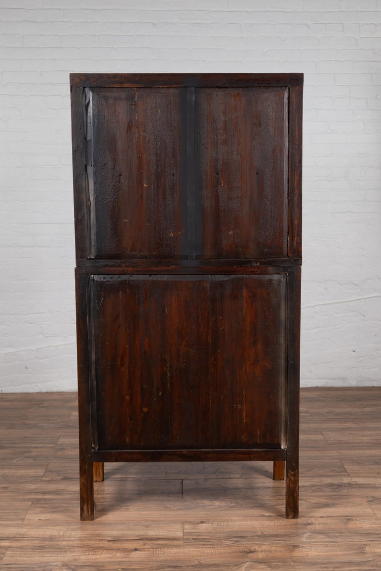 Vintage Chinese Two-Part Elmwood Bookcase with Pillar-Shaped Strut Motifs For Sale 8