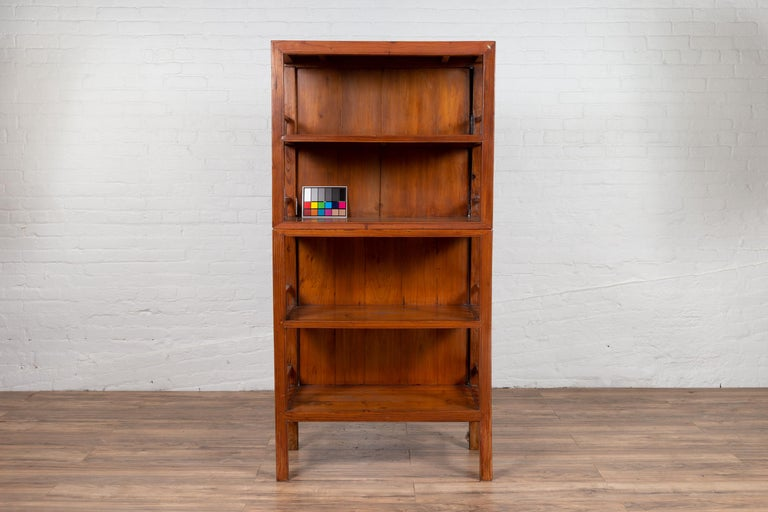 Vintage Chinese Two-Part Elmwood Bookcase with Pillar-Shaped Strut Motifs For Sale 11