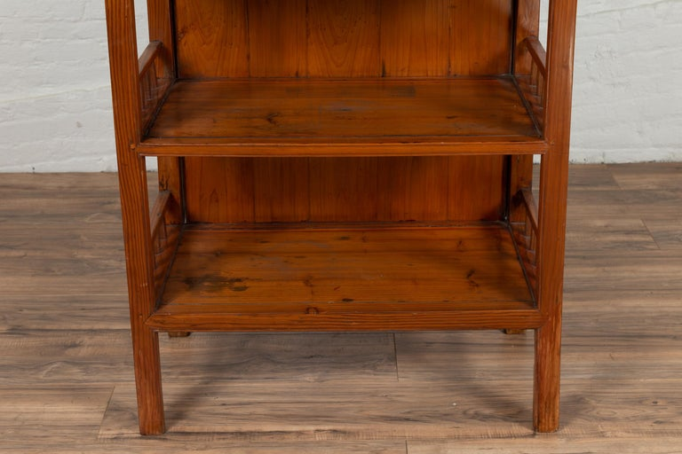 Vintage Chinese Two-Part Elmwood Bookcase with Pillar-Shaped Strut Motifs For Sale 1