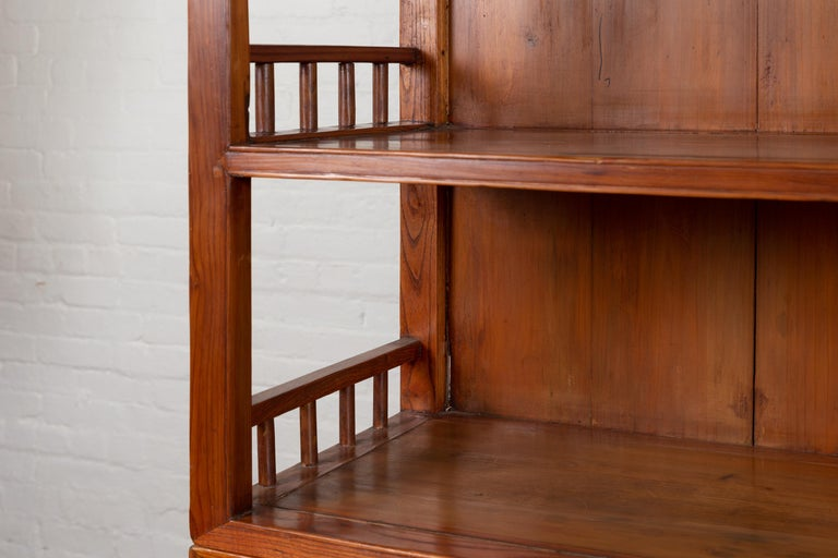 Vintage Chinese Two-Part Elmwood Bookcase with Pillar-Shaped Strut Motifs For Sale 2