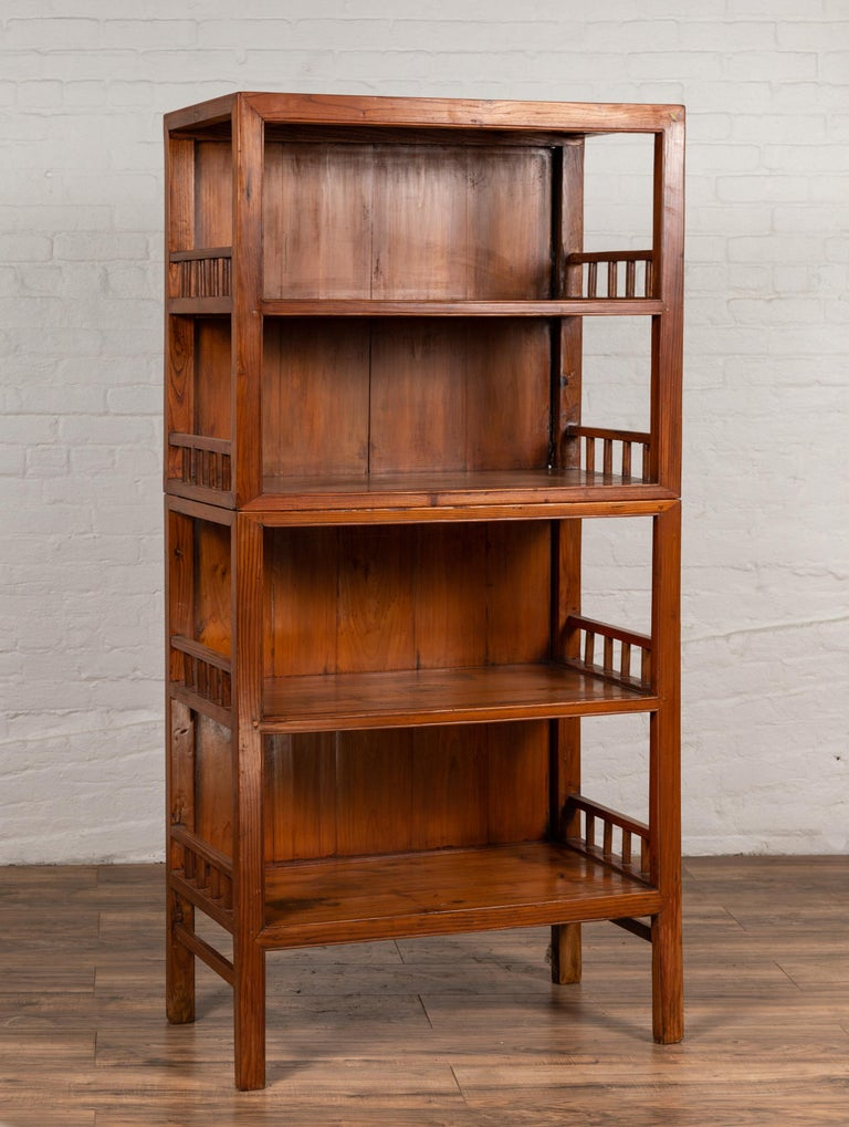 Vintage Chinese Two-Part Elmwood Bookcase with Pillar-Shaped Strut Motifs For Sale 4