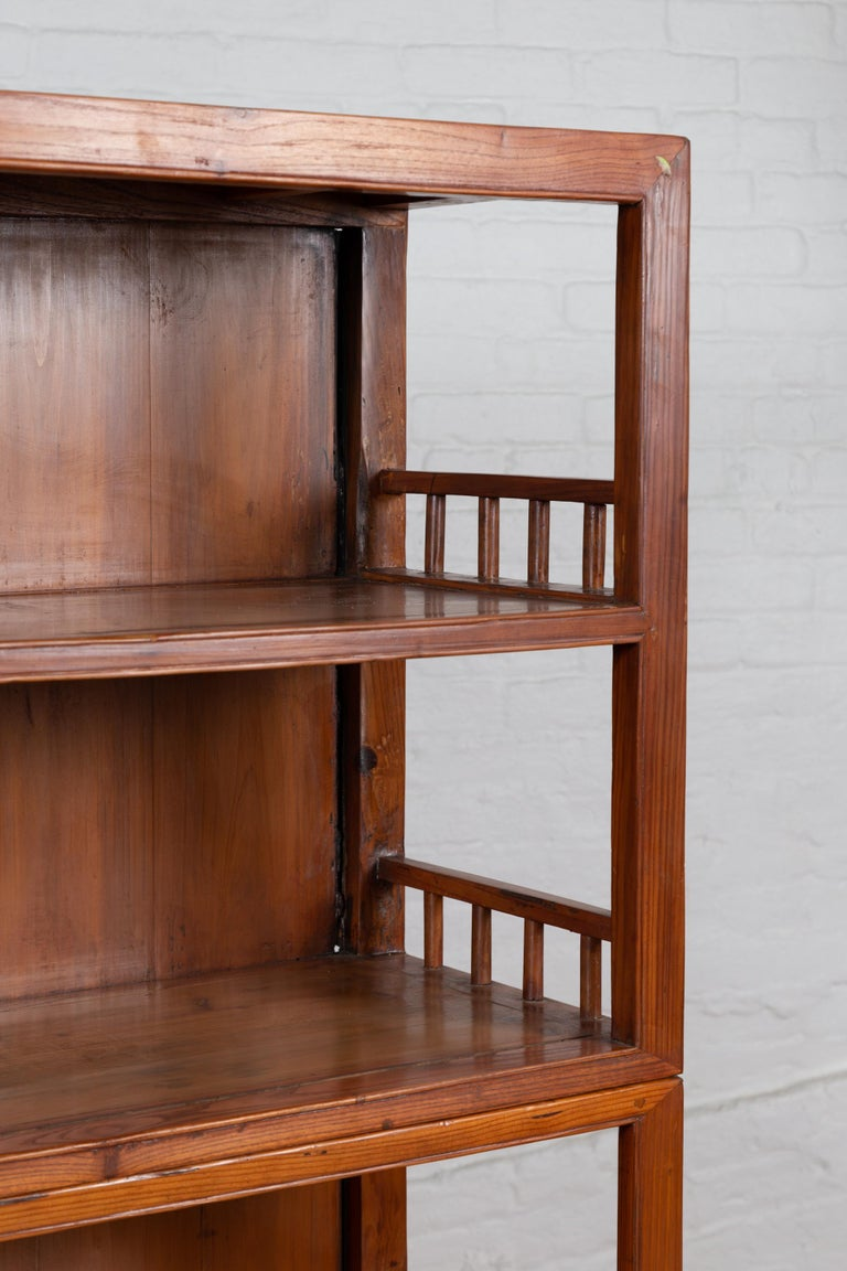 Vintage Chinese Two-Part Elmwood Bookcase with Pillar-Shaped Strut Motifs For Sale 5