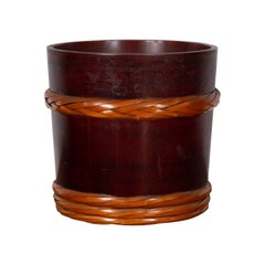 Vintage Chinese Wooden Barrel Planter with Rope Design with Red Undertone