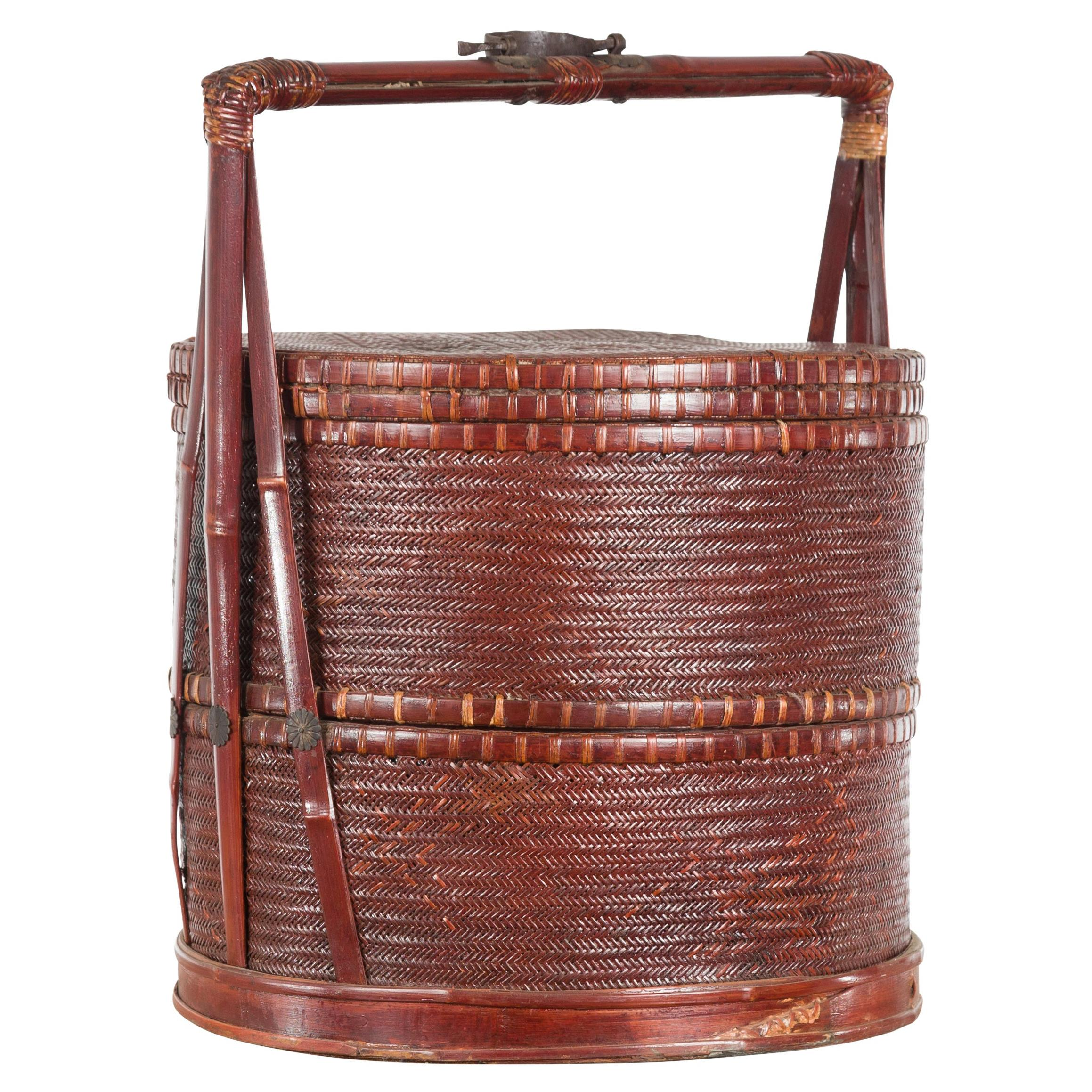 Vintage Chinese Woven Rattan and Bamboo Carrying Basket with Handle