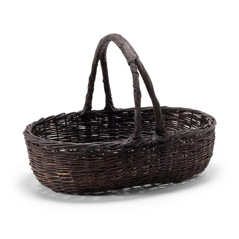 Rustic Vintage Chinese Woven Vegetable Basket For Sale
