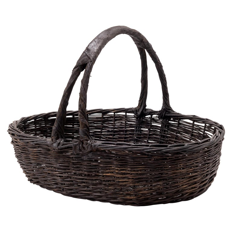 Vintage Chinese Woven Vegetable Basket For Sale