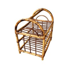 Vintage Chinoiserie Bentwood Rattan and Bamboo 12 Bottle Wine Rack