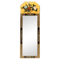 Vintage Chinoiserie Black and Gold Lacquered Floral Motif Trumeau Mirror