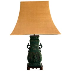 Vintage Chinoiserie Cast Bronze Table Lamp Italian Midcentury