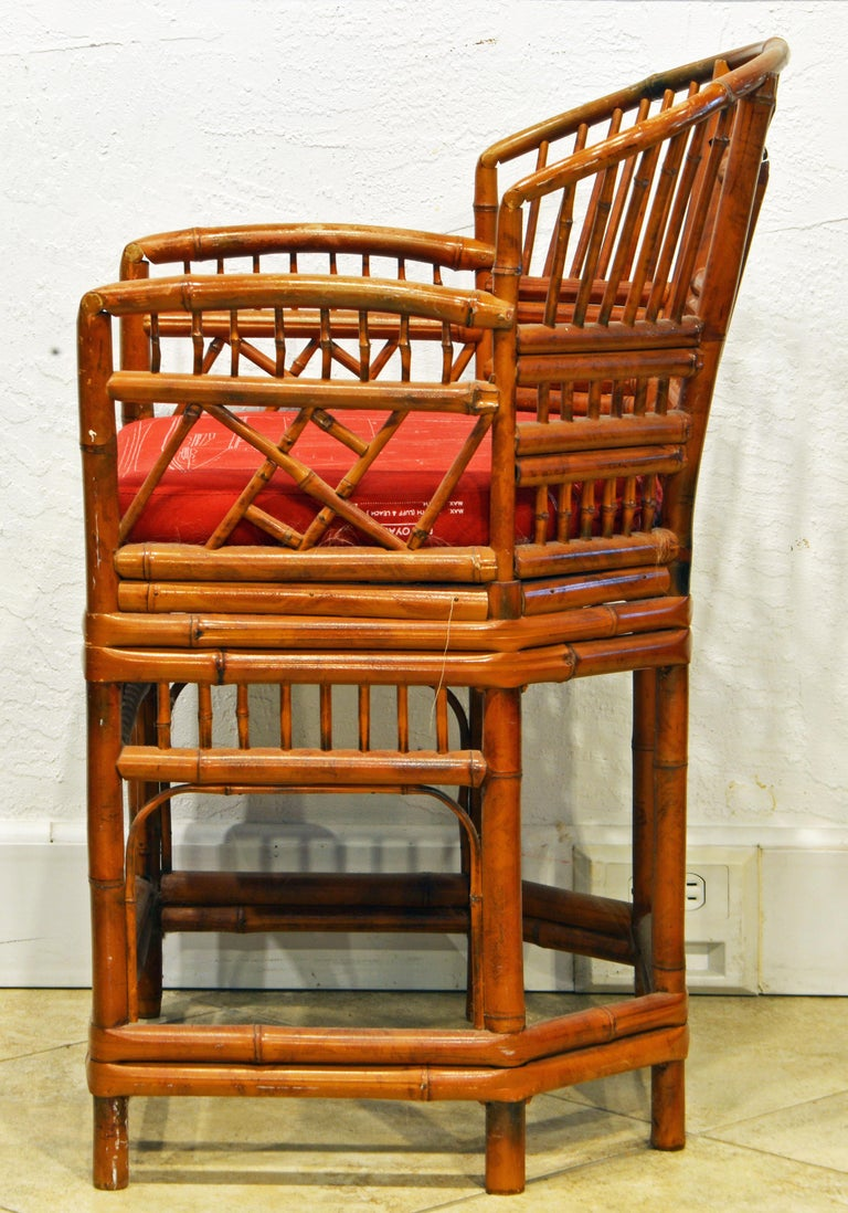 Asian Vintage Chinoiserie Chippendale Brighton Pavilion Style Bamboo Armchair For Sale