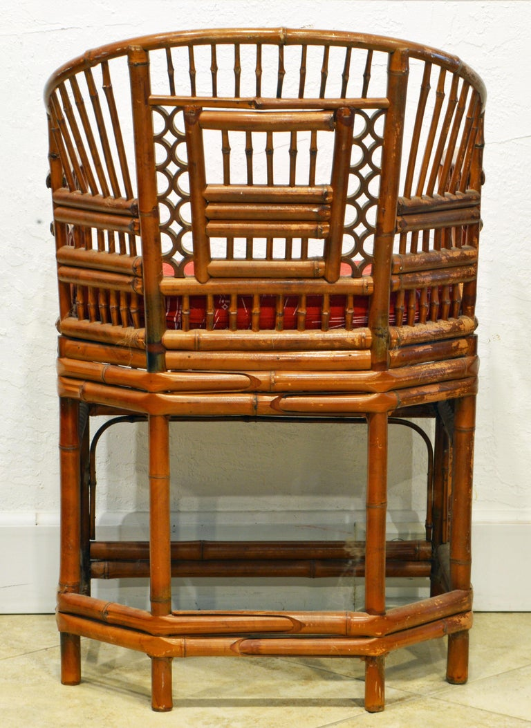 Vintage Chinoiserie Chippendale Brighton Pavilion Style Bamboo Armchair In Good Condition For Sale In Ft. Lauderdale, FL