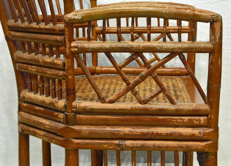 Vintage Chinoiserie Chippendale Brighton Pavilion Style Bamboo Armchair For Sale 1