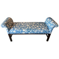 Vintage Chinoiserie Fretwork Fret Wood Bench Blue and White