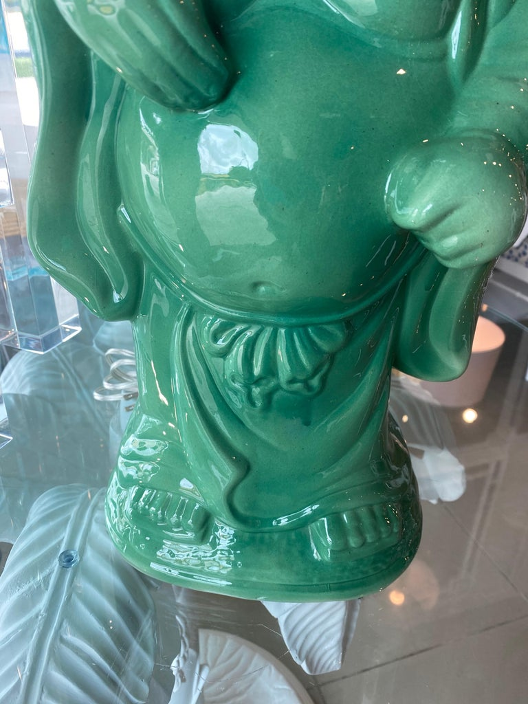 Vintage Chinoiserie Jade Green Buddha Ceramic Table Lamp Brass  For Sale 7