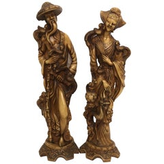 Vintage Chinoiserie Male and Female Statuary of Good Luck