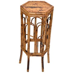 Vintage Chinoiserie Octagonal Shaped Rattan and Bamboo Plant Stand, Side Table