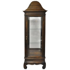 Vintage Chinoiserie Pagoda Top Wooden Curio Display Cabinet Beehive Ming Legs