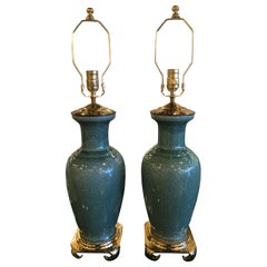 Vintage Chinoiserie Pair of Green Crackle Pagoda Top Brass Table Lamps