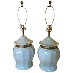 Vintage Chinoiserie Pair of Mint Green Pagoda Top Brass Ceramic Table Lamps