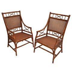 Vintage Chinoiserie Rattan Bamboo Armchairs Woven Cane Seat & Backrest, Pair